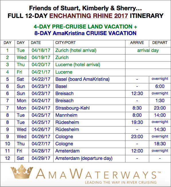 amakristina april 2017 updated itinerary